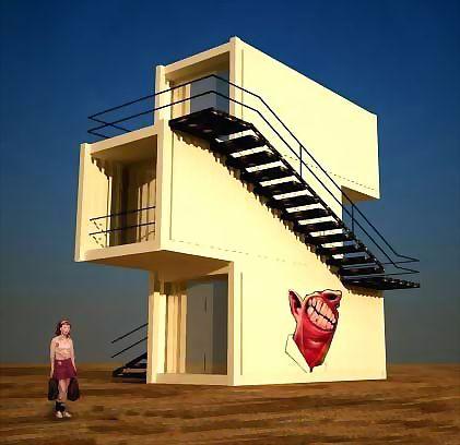 Трехэтажный дом из морских контейнеров фото.